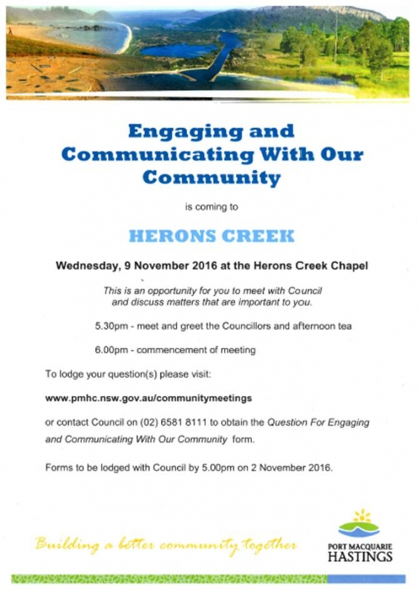 Port Macquarie Hastings Council is coming to Herons Creek 9th November - Join us